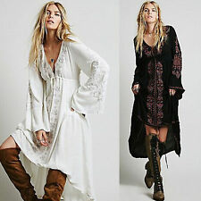 Vintage Embroidery Women Ethnic Tunic Boho Cotton Linen Long Sleeve Dress Hippie