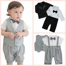 Newborn Baby Boys Wedding Formal Tuxedo Suit Gentleman Bowtie Romper Outfit Set