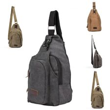 Men's Canvas Shoulder Bag Hiking Cross Body  Backpack Messenger Sling Chest Bag