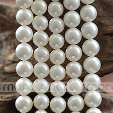 "White Synthetic Pearl Round Loose Beads 15.5"" Inches Strand 6 10 12mm"