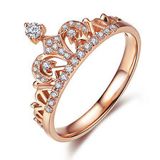 Women's Jewelry Princess Environmental Copper Crown AAA Zircon Finger Ring new