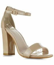 ROF Sandra-21 Patent Ankle Strap Open Toe Chunky Block Heeled Sandals in BEIGE