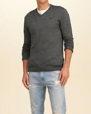 Abercrombie & Fitch - Hollister Sweater Pullover Mens V Neck Icon S Grey NWT