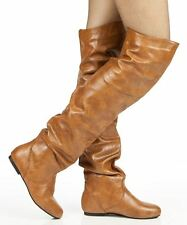 RF Room Of Fashion Trend-Hi Slouchy Low Heel Over-the-Knee Flat Boots TANPU