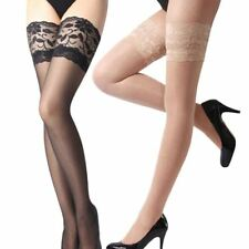 Lace Top Silicone Band Stay Up Thigh High Stockings Pantyhose