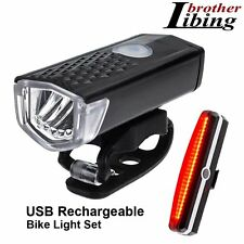 Bicycle Bike Rechargeable LED Head Light Torch Lamp & MTB Rear Tail Lamp Set UK