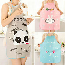 Women's Cute Cartoon Waterproof Apron Kitchen Restaurant Cooking Bib Aprons SP