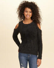 Abercrombie & Fitch – Hollister Sweater Womens Cold Shoulder Fluffy XS Black NWT