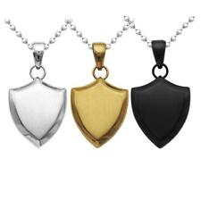 Women Mens Stainless Steel Shield Pendant Ball Beads Chain Dog Tag Necklace