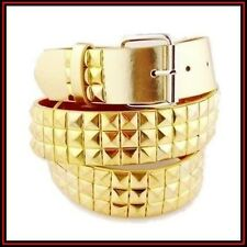 Men's Womens Unisex Gold Color 3-Rows Pyramid Studded Party Costume Leather Belt