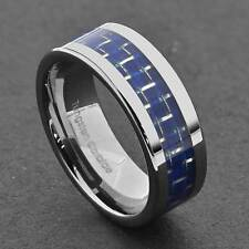 Tungsten Carbide 8mm Blue Carbon Fiber Inlay Flat Shiny Top Mens Wedding Band