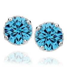 Sterling Silver 4.5 Ct Round Created Aquamarine Stud Earrings