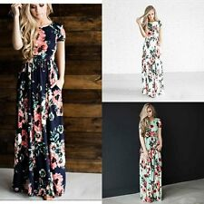 Women BOHO Long Evening Party Cocktail Prom Floral Summer Beach Maxi Dress Lady