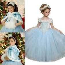 UK Kids Girls Cinderella Cosplay Outfit Costume Princess Party Fancy Dress+Cape