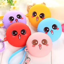 Cartoon Happy Emoji Silicone Wallet Coin Purse Earphone Container Kids Gift
