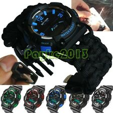 Water Resistant Sport Swimming Wrist Watch Mens Analog-Digital Military paracord