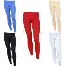 Mens Low Rise Smooth Leggings Bulge Pouch Underwear Long Pants Tight Trousers