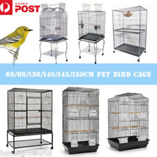 Lager Bird Cage Parrot Aviary Pet Stand-alone Budgie Perch Castor Wheels NEW
