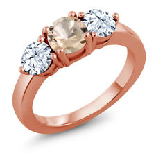 2.10 Ct Round Peach Morganite 18K Rose Gold Plated Silver Ring