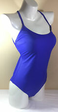 PINK By Victorias Secret Strappy Lace-Up Back One Piece Swim Suit Blue NWT F368