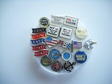 USA, Military Floating Charms Navy,Army,Marines,AirForce,Coast Guard
