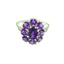 Superb Solid 14K White Gold Ladies Large Natural Amethyst Cluster Cocktail Ring