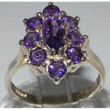 Luxury Ladies Solid 585 14K White Gold Natural Amethyst Cluster Ring