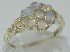 Luxury Ladies Solid 925 Sterling Silver Natural Fiery Opal Victorian Daisy Ring