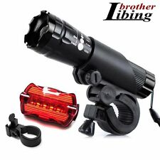 2X CREE Q5 LED Bike Bicycle Cycle Zoomable Torch Front Lights Safety Rear Lamp