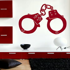 Handcuffs - Art Wall Decal Stylish Art Decor / Large Removable Vinyl Decal ne8