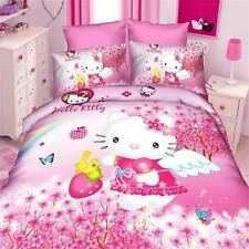 Hello Kitty Hearts Panel Duvet Cover Kids Bed Bedding Set New Gift Pink Blue