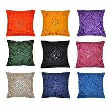 Indian Style Ethnic Indian Embroidery Mirror Work Throw Pillow Cushion Cover