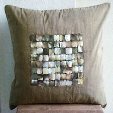 Square Mother Of Pearls Brown Art Silk 35x35 cm Cushion Covers - Pearl Paradise