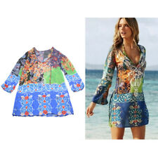 Womens Swimwear Bikini Beach Wear Cover Up Kaftan Ladies Summer Short Mini Dress