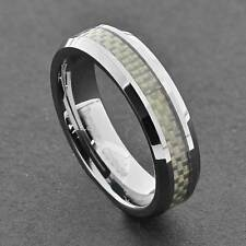 Tungsten Band Men's White Carbon Fiber Inlay Comfort Fit Wedding Ring