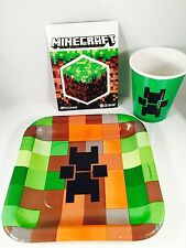 TNT Boys Birthday Party Pixel Plates Cups with Official Minecraft Sticker