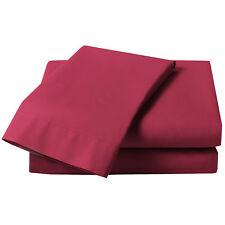 Burgundy Red Percale Fitted Sheet - Plain Bed Linen Cotton Blend Bed Sheets