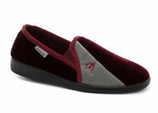 Dunlop Duncan Mens Velour Two Tone Twin Gusset Comfy Full Slippers Burgundy/Grey