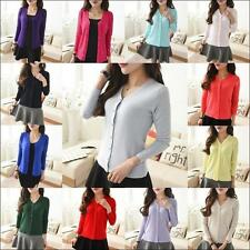 Women Solid Knit Cardigan Front Button Down Sweater Long Sleeve Outwear Blouse**