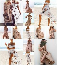 New US Women Long Maxi Dress Wrapped chest Floral Vintage Summer Evening Party