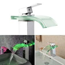 LED Modern Light Bathroom Waterfall Faucet Glass Wash Basin Mixer Tap Chrome