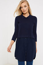 Society 8 Tammy 2-In-1 Top with Long Sleeved Knit and Button Detail