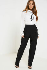 Fashion Union Womens Nancy Ruffle Jumpsuit with Tapered Leg Concealed Back Zips