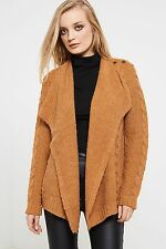 Vila Riva Long Sleeve Cable Knit Cardigan - Brown