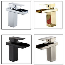 Bathroom Waterfall Spout Faucet Basin Sink Mixe Tap Single Handle Deck Mounted