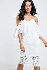 AX Paris Lace Womens Dress with Cold Shoulder and Scalloped Hemline