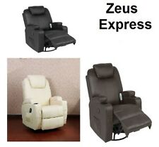 Massage Recliner Leather Chair Heated With R Control Ergonomic Black Brown White