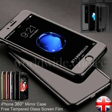 Hybrid 360° Hard Thin Mirror Case + Tempered Glass Cover For iPhone 6S 7 Plus 5S