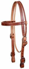 """DRAFT HORSE 1"""" Leather Dbl Stitched Headstall w/ Buckled Ends! MADE IN USA!"""
