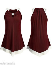 Gamiss Open Shoulder Keyhole Scoop Neck Tunic Tank Top blouse tops